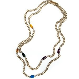 Vintage Long Gold Chain Necklace Crystal Bead Blue